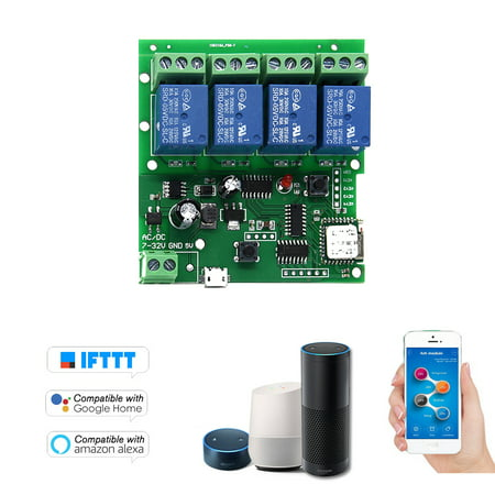 Sonoff Smart Remote Control Wireless Switch Universal Module 4ch DC 5V 12V 32V Wifi Switch Timer Phone APP Remote Control Support Alexa Google Home Voice Control for Smart Home