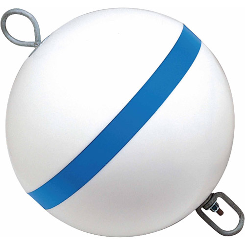Taylor Traditional Sur-Moor Mooring Buoy, White with Blue Reflective Striping