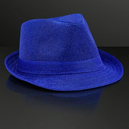 Soft Blue Fabric Fedora Hat Non Light Up by - Light Blue Fedora