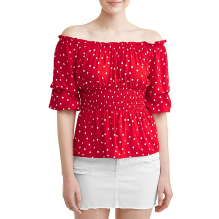 Juniors' Polka Dotted Smocked Flounce Sleeve Blouse