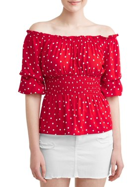 cb045490baf Product Image Juniors  Polka Dotted Smocked Flounce Sleeve Blouse