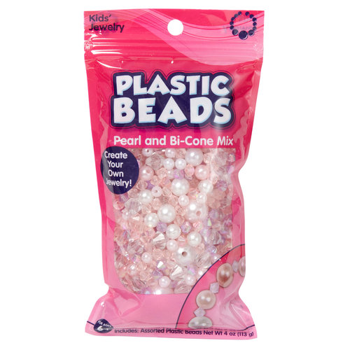 Kids Craft Plastic Pearl Beads, Girlie Mix