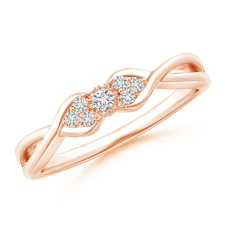 April Birthstone Ring - Illusion Set Diamond Crossover Promise Ring in 14K Rose Gold (2mm Diamond) - SR1588D-RG-HSI2-2-6.5