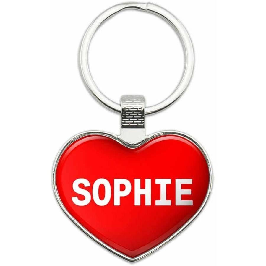 Sophie - I Love Name Metal Heart Keychain Key Chain Ring, Multiple Colors Available