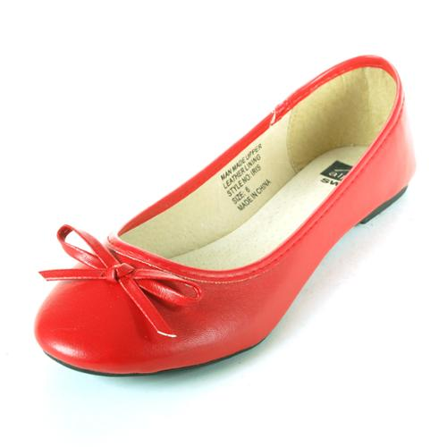 Women's Bow Ballet Flats Iris Round Toe Classic Shoe Real Suede Interior Loafer Red Size 6