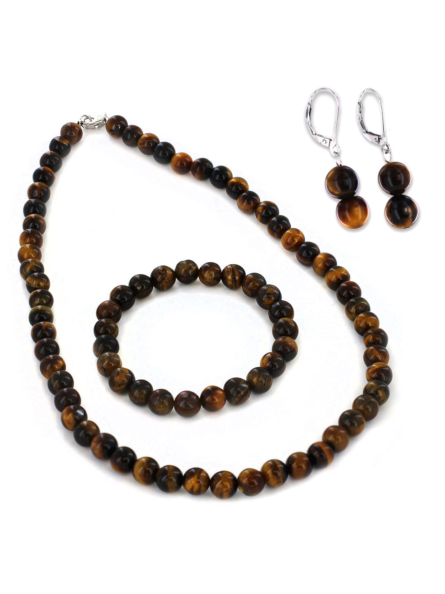 Women's Sterling Silver Tiger's Eye Bracelet Earring and Necklace Set
