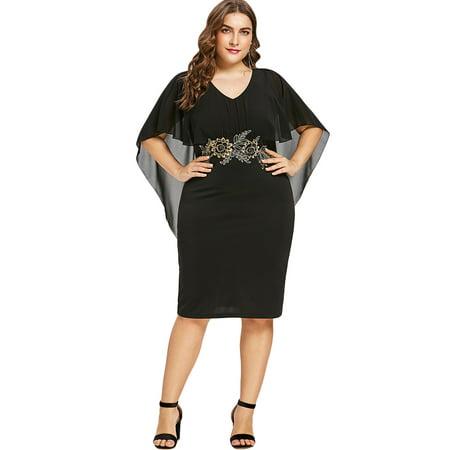 Women's Plus Size Dress Half Sleeves Round Collar Knee Length Capelet Dress
