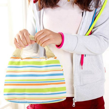 Portable Lunch Box Carry Tote,Multicolor striped lunch bag Thermal Insulated Cooler Tote Bag,Green