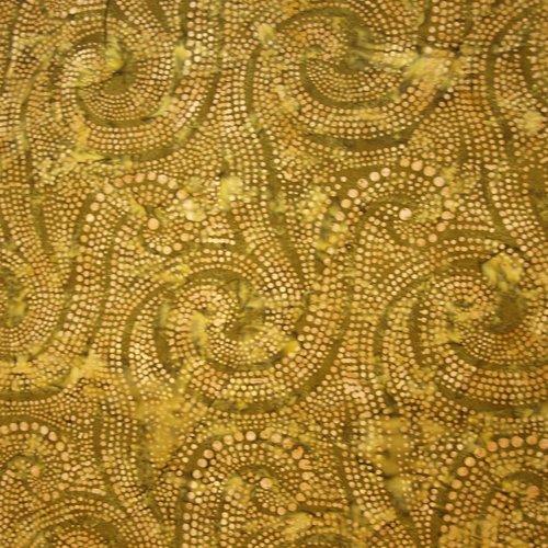 Handmade Indonesian Batiks Quilting Batik, Olive with Henna Dots