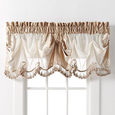 Danbury Embroidered Window Beaded Valance Treatments By GoodGram® - Beige ()