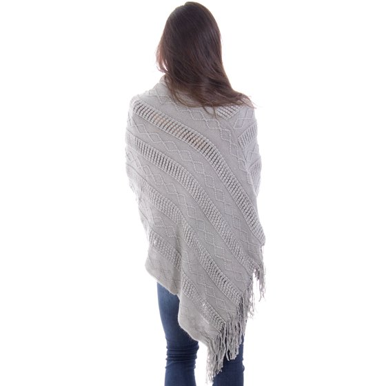 53204ce0c421 BASILICA - Ponchos for Women Knitted Tassel Sweater Poncho Shawls ...
