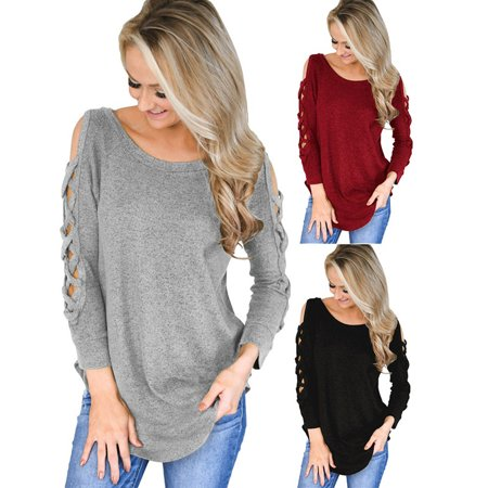 New Autumn and Winter Women Tunic Tops Casual Round Neck T-Shirt Long Sleeve Basic Tee Shirt Ladies Fashion Pullover Femme Blouses Solid Color Cotton Top Loose Sexy Off Shoulder T Shirts (Femme Fatale Outfits)