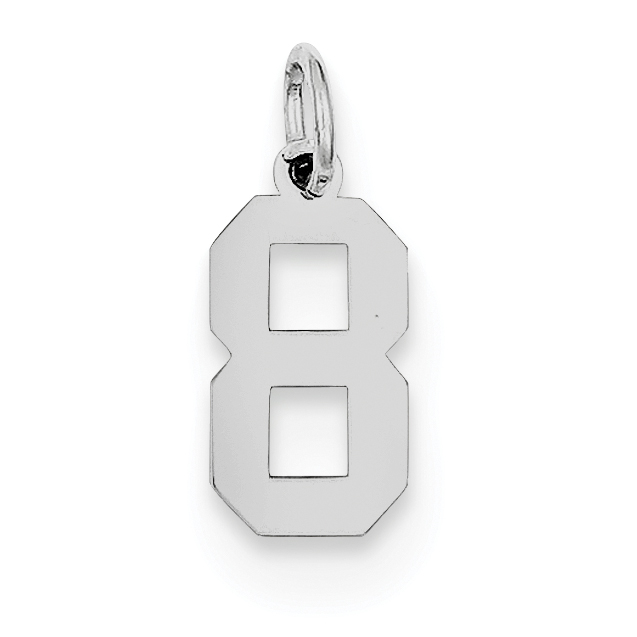 Sterling Silver Rhodium-plated Small Polished Number 8 Charm QSS08 (20mm x 4mm) - image 2 of 2