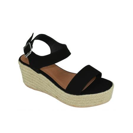 City Classified Women Wedge Sandals Open Toe Ankle Strap Flatform Espadrilles Platform LUTHOR-S Black - Ankle Platform Wedge Sandal