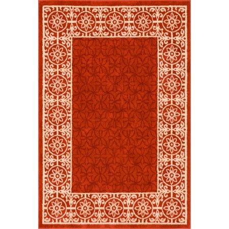 Well Woven Casa Tuscany Rust Orange & Ivory Modern Classic Mediterranean Tile Border Floral 9x13 (9