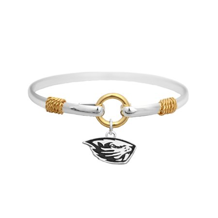 Beaver Jewelry Charm - Oregon State Beavers Two Tone Silver Gold Cuff Bangle Bracelet Charm Jewelry OSU  Officially Licensed NCAA Product Licensed By From The Heart Enterprises