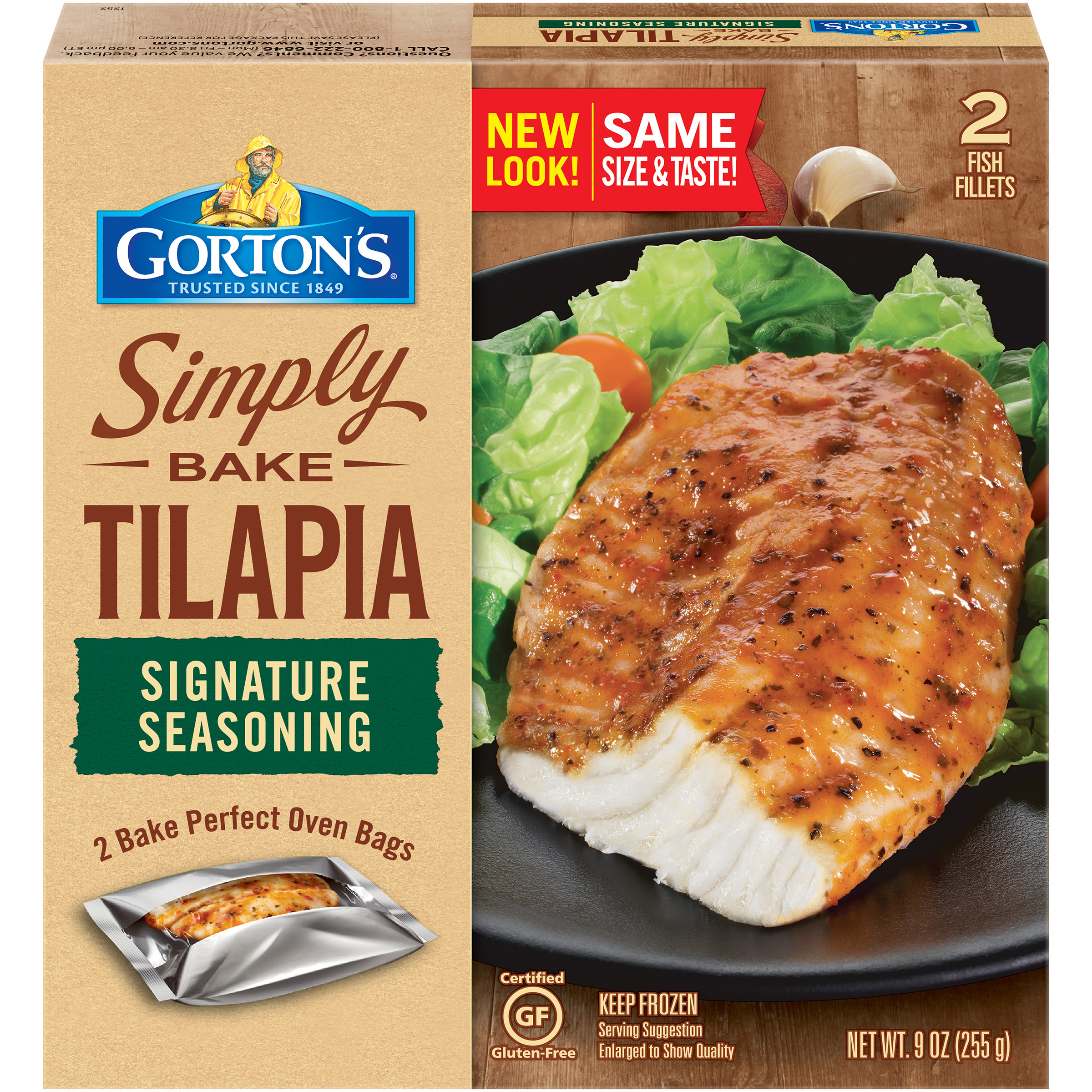 Gorton's Simply Bake Signature Seasoning Tilapia Fillets, 2 count
