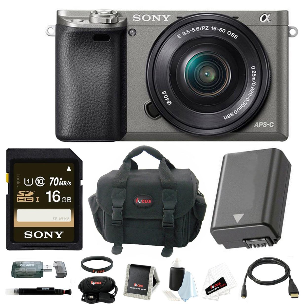 Sony Alpha a6000 Mirrorless Camera w/ 16-50mm Lens Accessory Bundle - Graphite