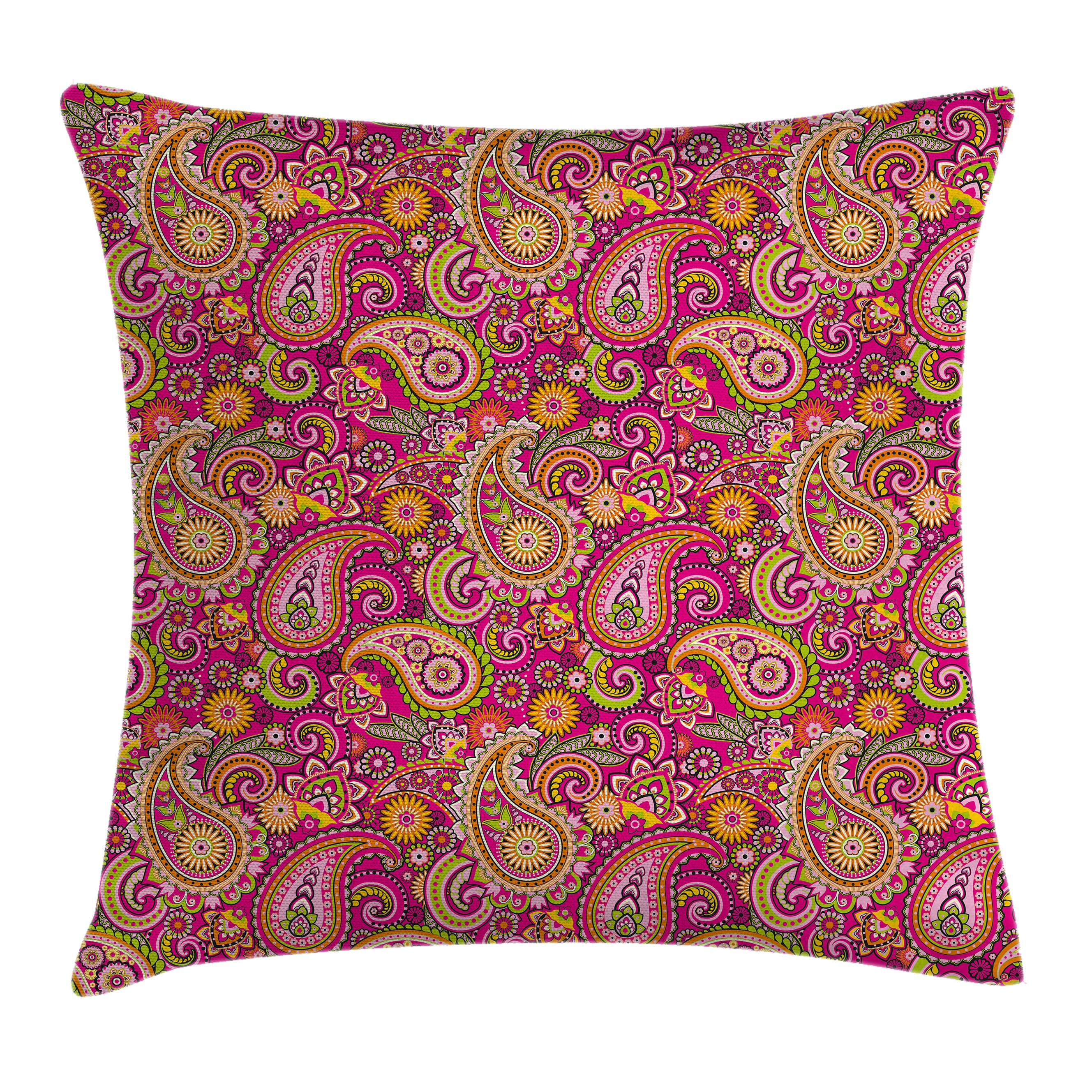 Paisley Decor Throw Pillow Cushion Cover, Vivid Design with Flowers Dots Leaves and Ornamental Patterns Artwork, Decorative Square Accent Pillow Case, 18 X 18 Inches, Multi Colored, by Ambesonne