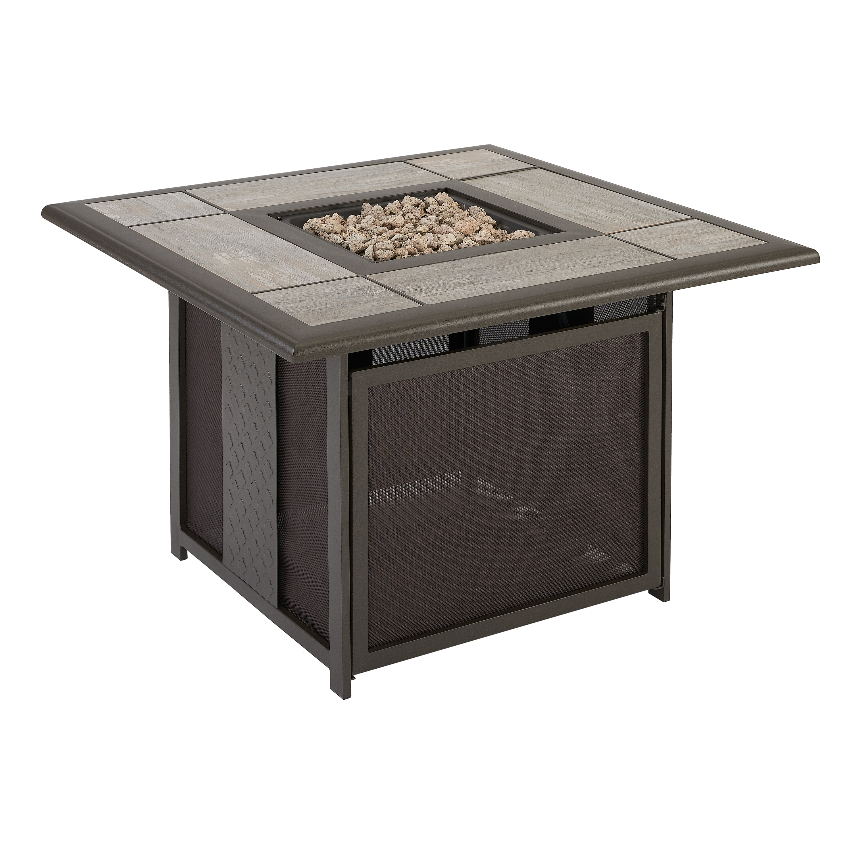 Better Homes & Gardens Everson Square Outdoor Tile-Top Fire Pit with Mesh Spark Guard