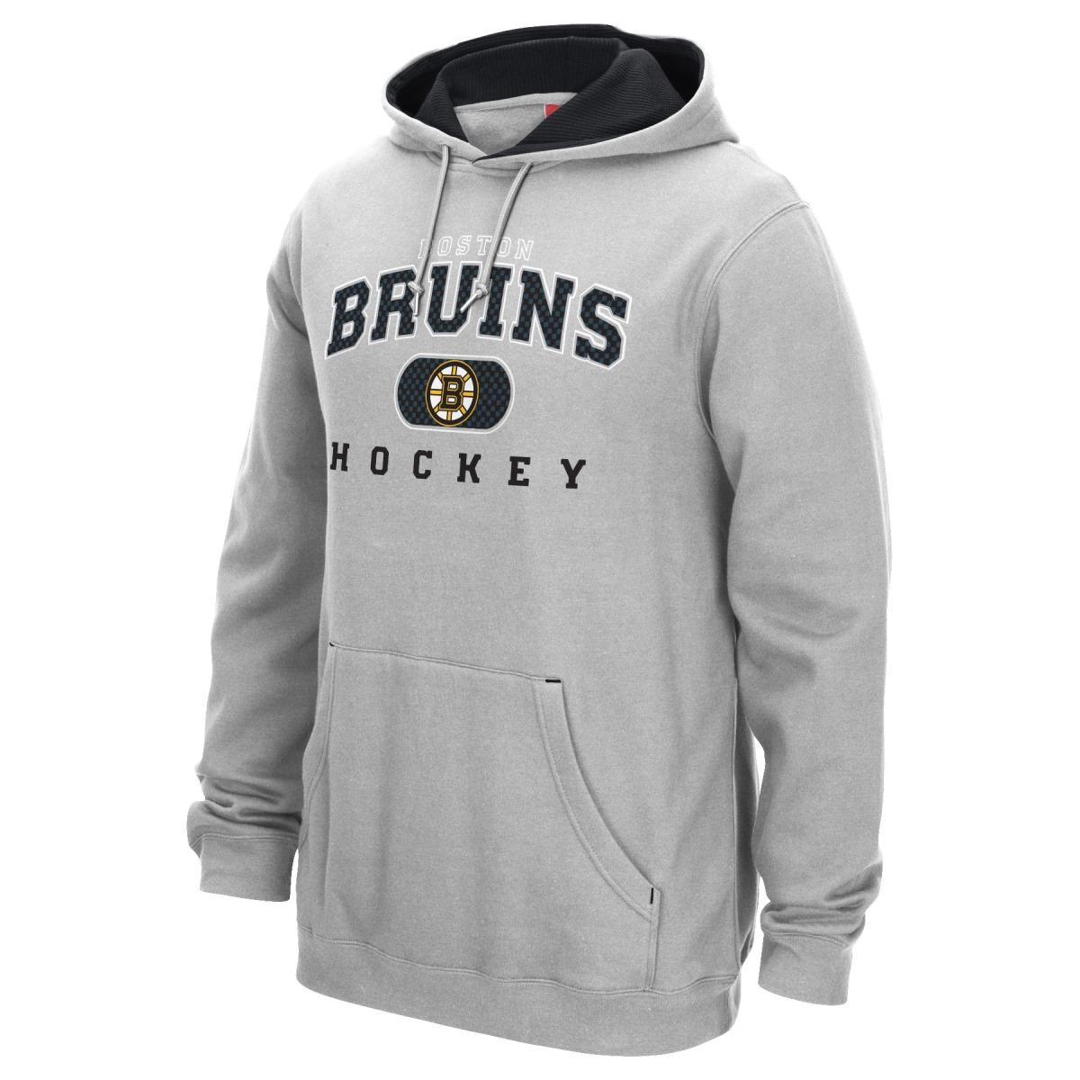 Boston Bruins Reebok NHL Men's Playbook Hooded Sweatshirt - Gray