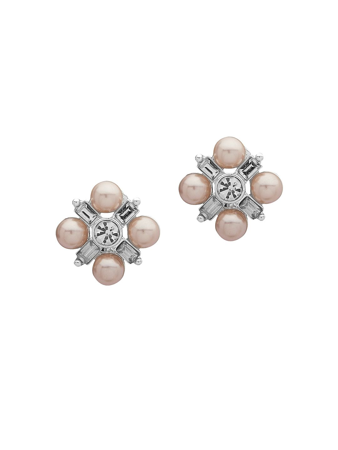 Silvertone and Faux Pearl Cluster Stud Earrings