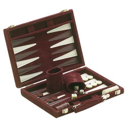 Burgundy Suede 18 in. Backgammon (Style Backgammon Set)