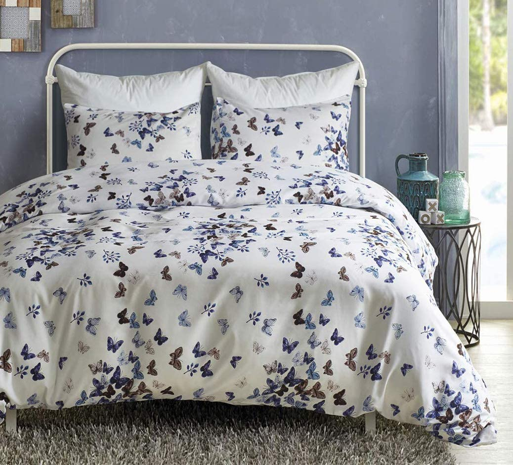 Butterfly Duvet Cover Sets Blue Navy Butterfly Printed On White Bedding Cover Sets 3 Pieces With 2 Pillow Shams And 1 Comforter Cover For Boys Girls Women Men Kids Walmart Canada