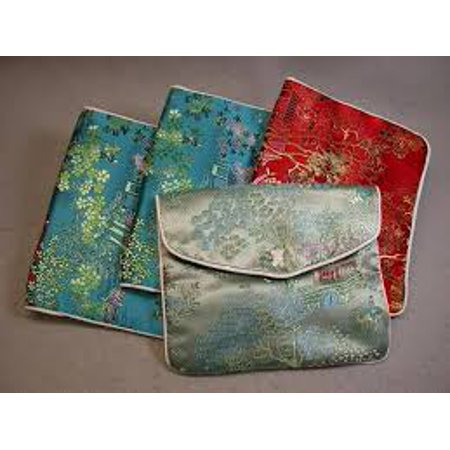 Chinese Silk Brocade Embroidered Jewelry DRAWSTRING POUCH , SUEDENE with Zipper 5.5X3.5