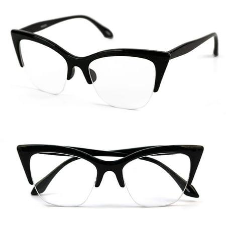 9bace83bee49c POP Fashionwear P4022CL 1950 s Vintage Style Cat Eye Clear Lens Glasses -  Walmart.com
