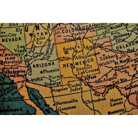 Southwest America Map.Laminated Poster Southwest Map America Usa Southwest New Mexico