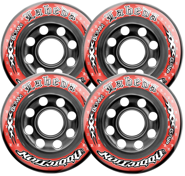 LABEDA WHEELS Inline Roller Hockey ADDICTION XXX 72mm 81A 4-PACK Skate Wheel RED