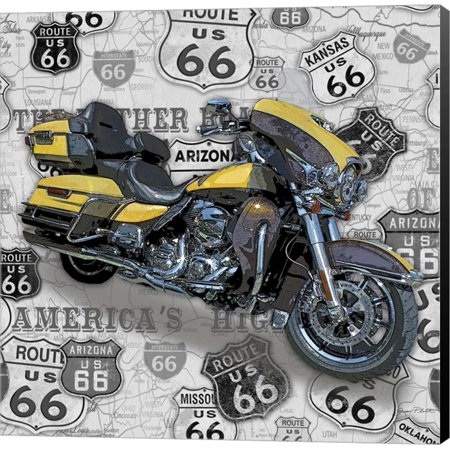 Vintage Motorcycles on Route 66-F by Jean Plout, Canvas Wall Art