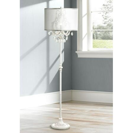 Chandelier Style Floor Lamp - Regency Hill Chic Floor Lamp Antique White Chandelier Style Crystal Sheer Organza Drum Shade for Living Room Reading Bedroom