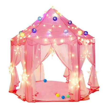 Kids Play Tent, Pink Princess Tent Girls Large Playhouse Pink Hexagon Princess Castle Kids Play Tent Child Play Tent - Girl Teepee