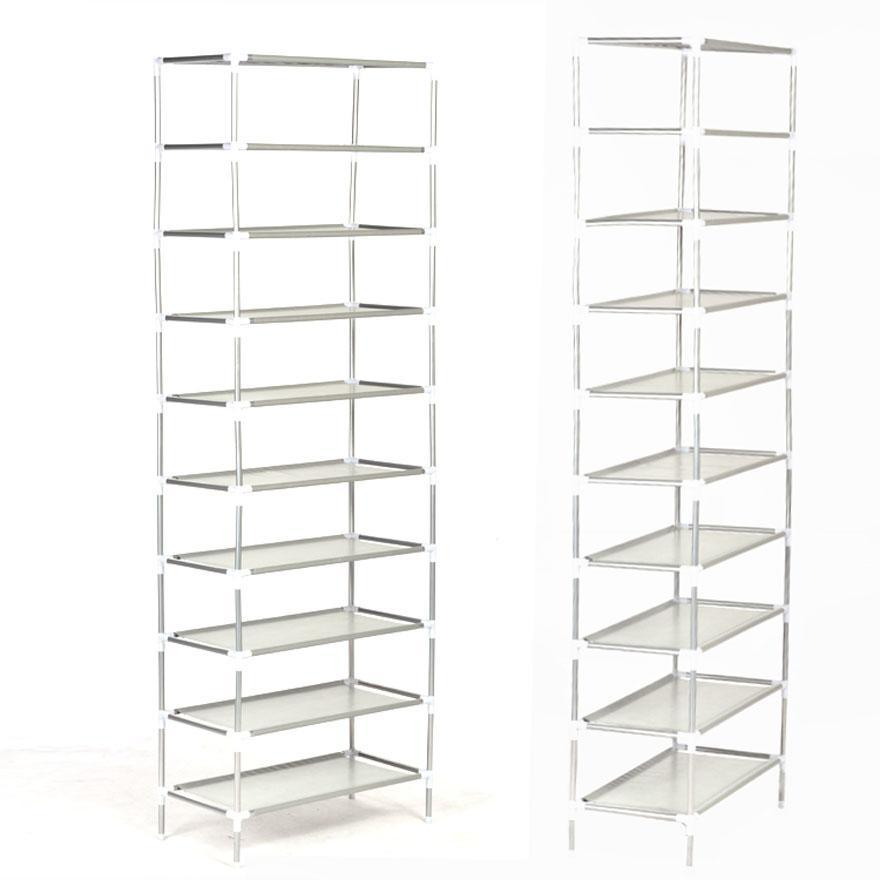 50 Pairs 10-Tier Shoe Rack Shoe Organizer Shoe Storage Shoe Shelves Cabinet Stackable - Easy to Assemble - No Tools Required