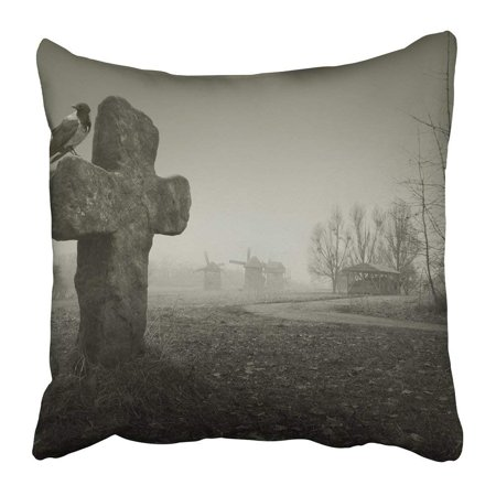 ARTJIA Black Graveyard Scary for Halloween Old Grave with Cross and the Raven Gray Cemetery Horror Death Pillowcase 18x18 inch (Cemetery Decorations For Halloween)