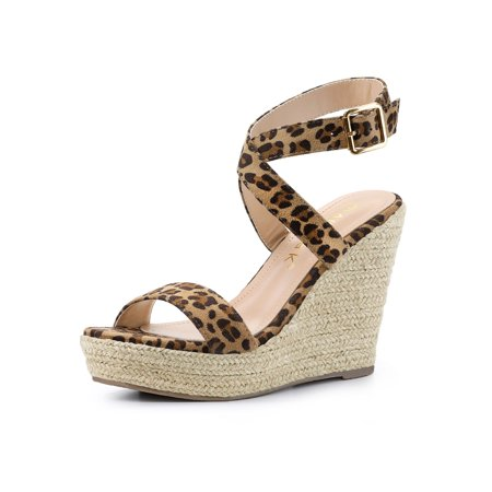 Women's Crisscross Espadrille Wedge Heel Sandals Leopard (Size 7) Double Criss Cross Sandal