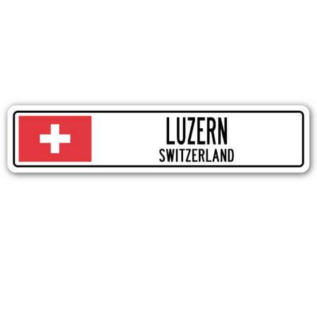 Sigg Swiss - LUZERN, SWITZERLAND Street Sign Swiss flag city country road wall gift