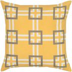 """Rizzy home T05642 18"""" x 18"""" yellow cotton canvas decorative filled pillow"""