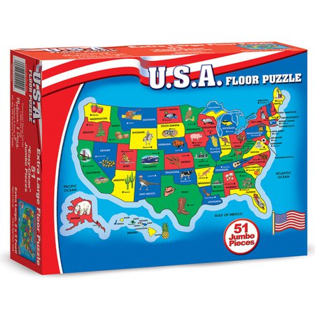 Melissa & Doug USA Map 51 pcs Floor Puzzle - Usa Puzzle Map