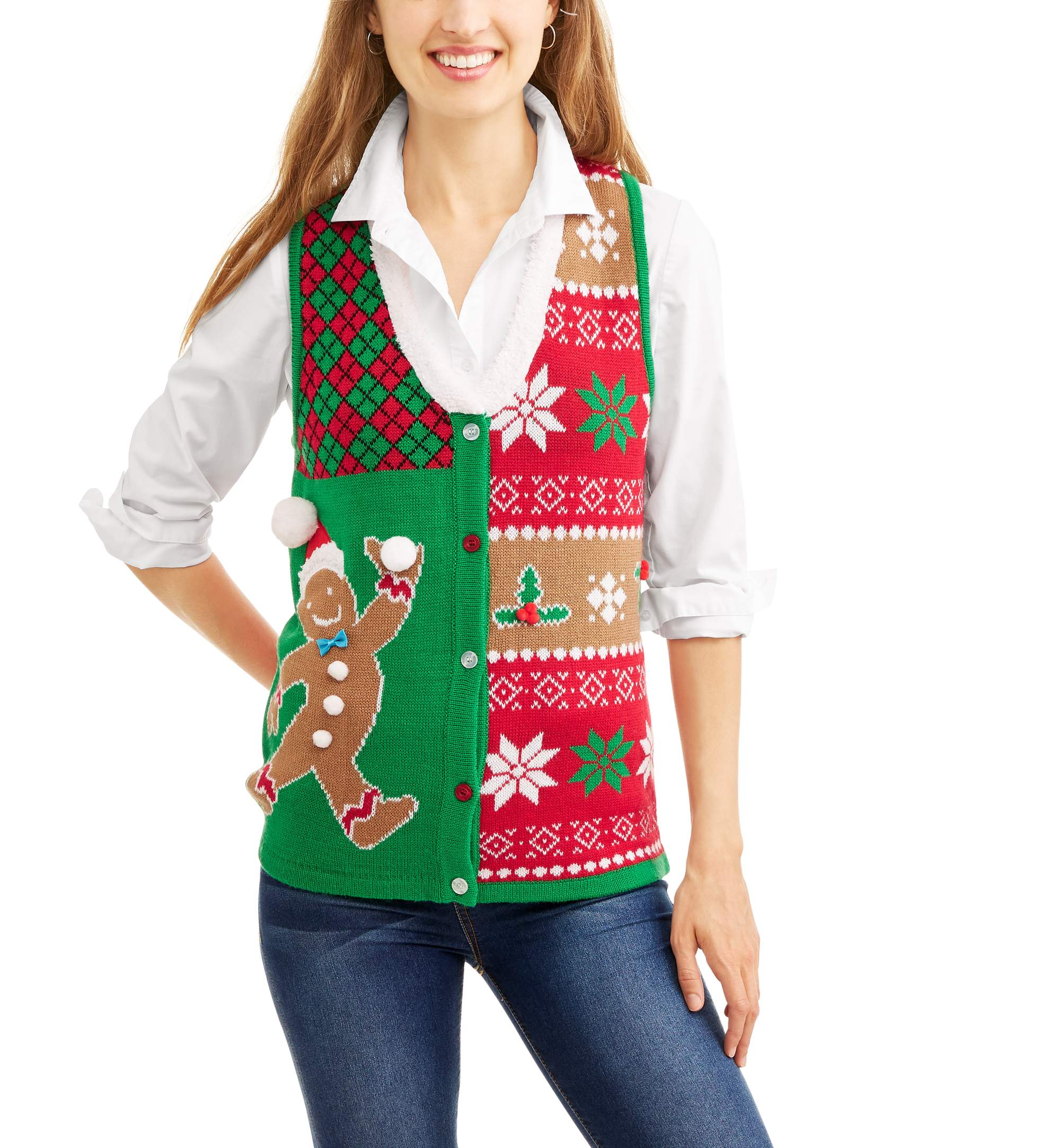 Allison Brittney Women's Ugly Christmas Sweater Vest with Faux Fur Collar