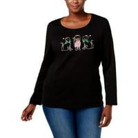 da180bd9e3d Karen Scott Womens Plus Christmas Cat T-Shirt