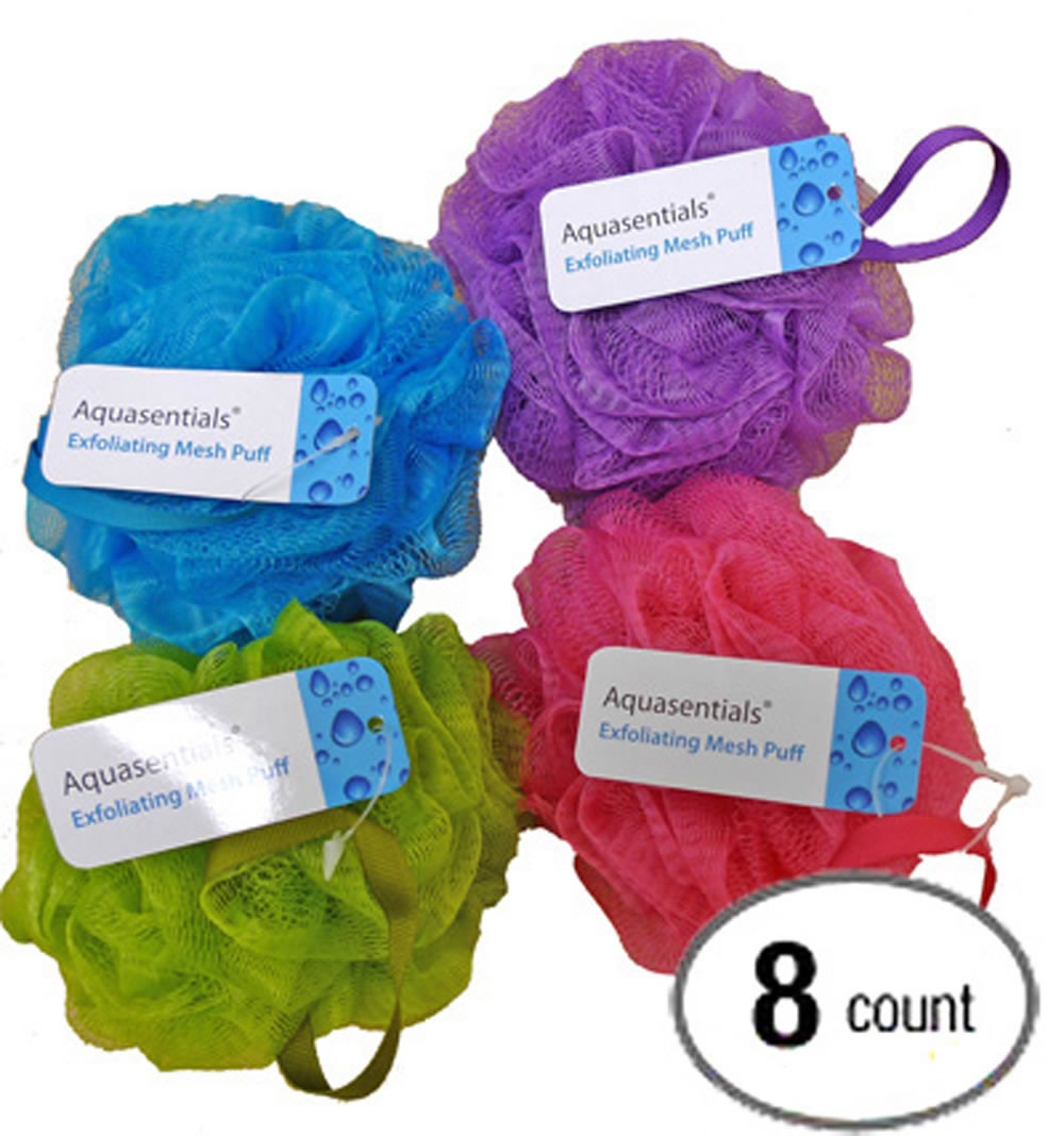 Aquasentials Mesh Bath Pouf Sponge 8 Pack