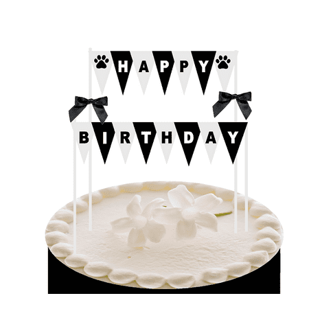 Happy Birthday Black and White Paw Print Cake Decoraton Bunting Banner with - Black And White Happy Birthday Banner