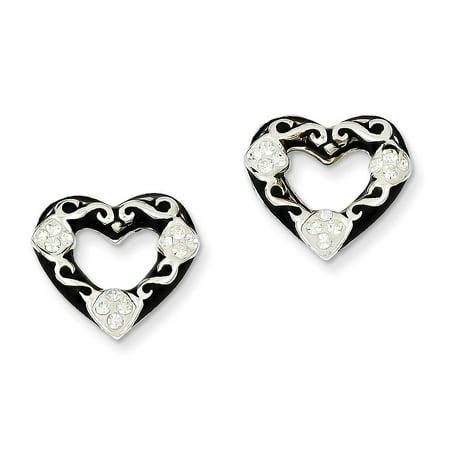 Sterling Silver Stellux Crystal Black Enameled Open Heart Post Earrings (0.5IN x 0.6IN )
