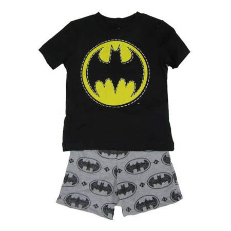 DC Comics Little Boys Black Grey Batman Logo Print 2 Pc Shorts Outfit](Comic Con Outfit)
