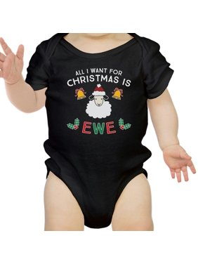 All I Want For Christmas Is Ewe Baby Black Bodysuit