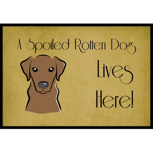 Carolines Treasures BB1482MAT Chocolate Labrador Spoiled Dog Lives Here Indoor & Outdoor Mat, 18 x 27 in. - image 1 of 1