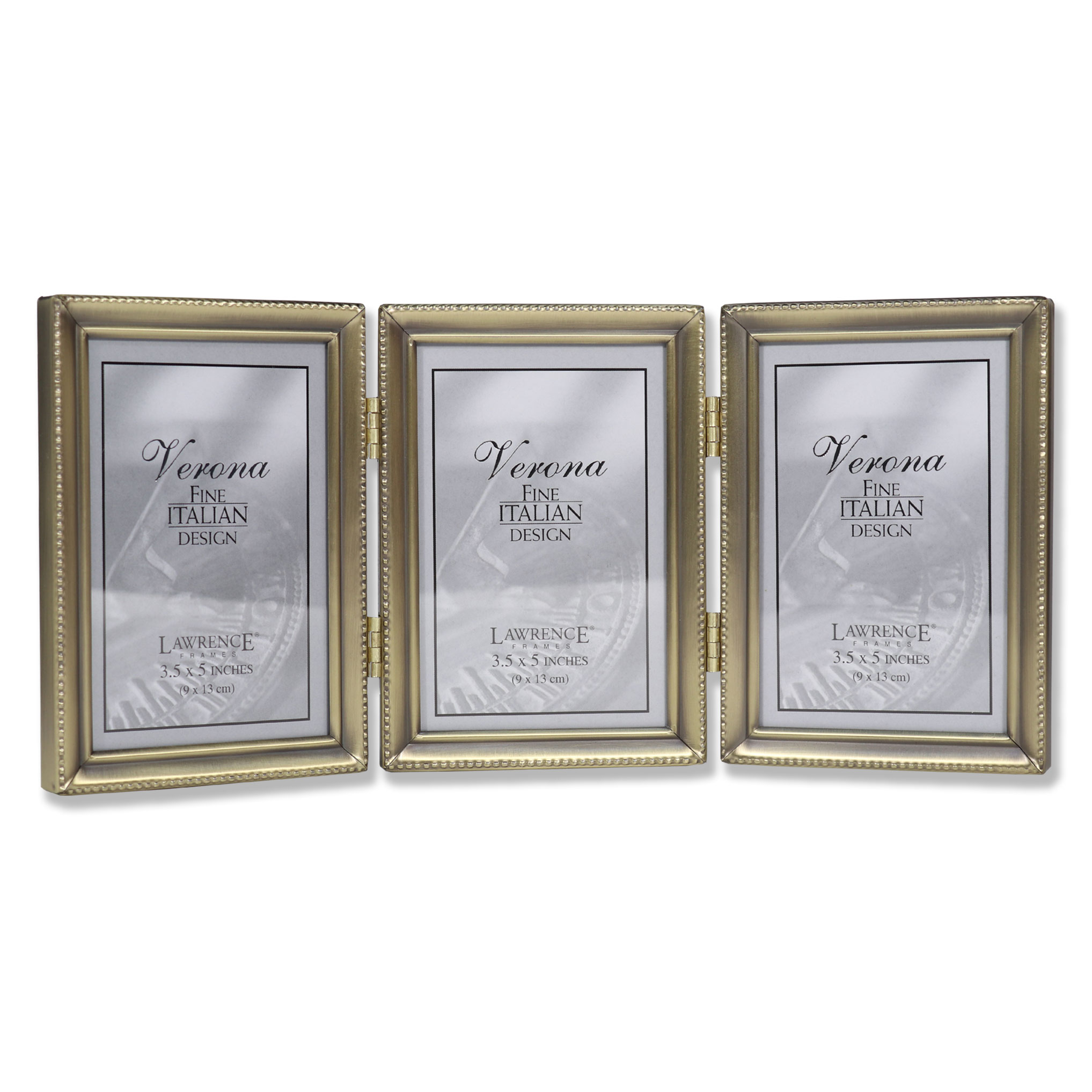Antique Gold Bead 35x5 Hinged Triple Picture Frame Walmartcom